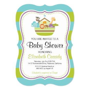 Blue Green, Bracket Noah's Ark Baby Shower Invite. Invitation