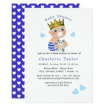 Blue Hearts Cute Prince Baby Boy Shower Invite