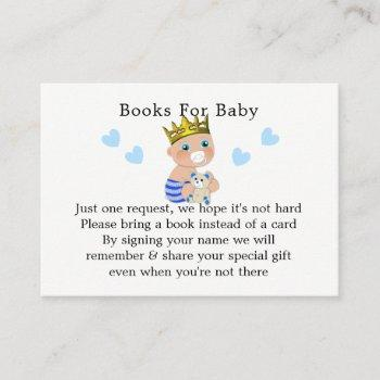 Blue Hearts Prince Baby Boy Shower Book Request Enclosure Card
