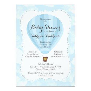 Blue Hot Air Balloon Boy Baby Shower Invitation