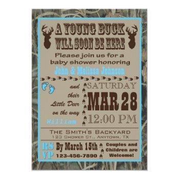 Blue Hunting Camo Baby Shower Invitations