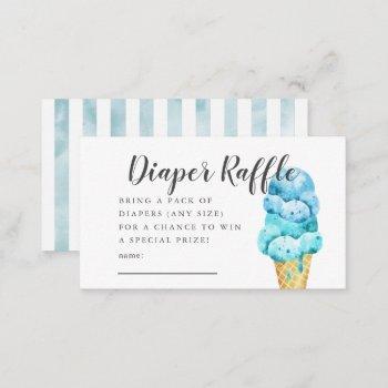 Blue Ice Cream Baby Shower Diaper Raffle Ticket Enclosure Card