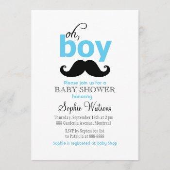 Blue It's A Boy Mustache Baby Shower Invitations