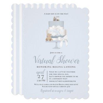 Blue Long Distance Virtual Baby Shower Cake Invitation