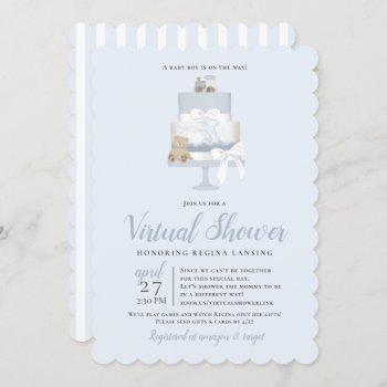 Blue Long Distance Virtual Baby Shower Cake Invitation
