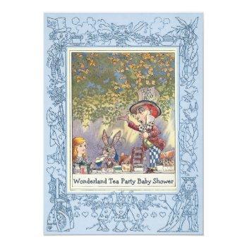 Blue Mad Hatter's Wonderland Tea Party Baby Shower Invitation
