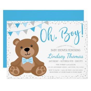 Blue Oh Boy Teddy Bear Baby Shower Invitation