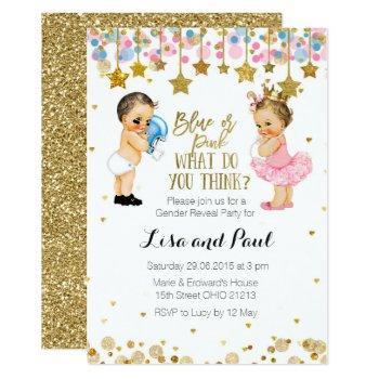 Blue Or Pink Gender Reveal Invitation