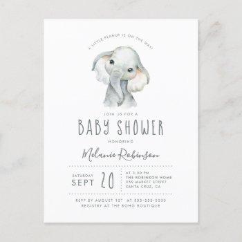 Blue & Orange Tribal Pattern Elephant Baby Shower Invitation Postcard