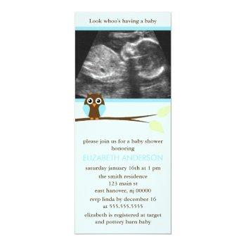 Blue Owl Sonogram Baby Shower Invitations