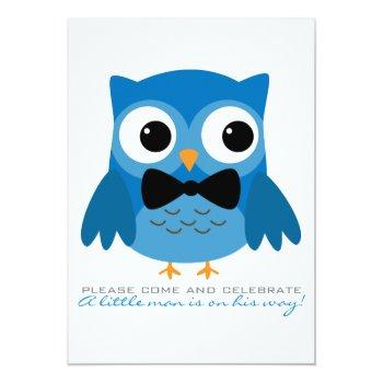 Blue Owl With Bow Tie Baby Shower Invitation