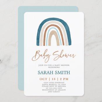 Blue Rainbow Baby Shower Boy Invitation