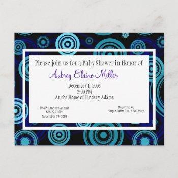 Blue Retro Targets Baby Shower Invitation