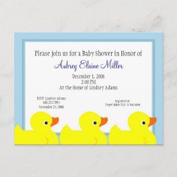 Blue Rubber Ducky Shower Invitation