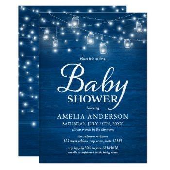 Blue Rustic Wood Mason Jars And Lights Baby Shower Invitation