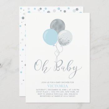Blue & Silver Balloons   Oh Baby Boy Baby Shower Invitation