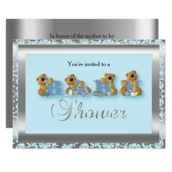 Blue & Silver Damask With Teddy Bear | Baby Shower Invitation