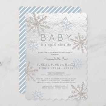 Blue Snowflake Baby Its Cold Drive-by Baby Shower Invitation