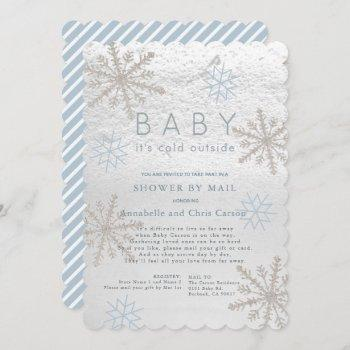 Blue Snowflake Baby Its Cold Shower By Mail Invitation