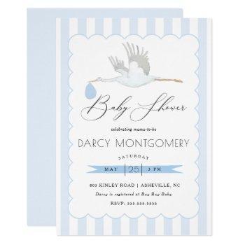 Blue Stork Boy Baby Shower Invitation