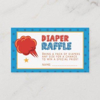 Blue Super Baby Diaper Raffle Ticket Enclosure Card