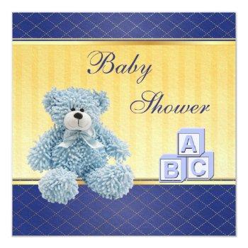 Blue Teddy & Building Blocks Boys Baby Shower Invitation
