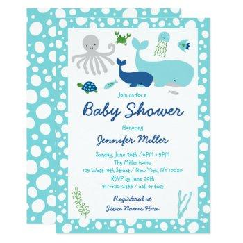 Blue Under The Sea Baby Shower Invitation