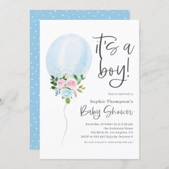 Blue Watercolor Ballon It's A Boy Baby Shower Invitation