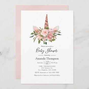 Blush And Rose Gold Floral Unicorn Baby Shower