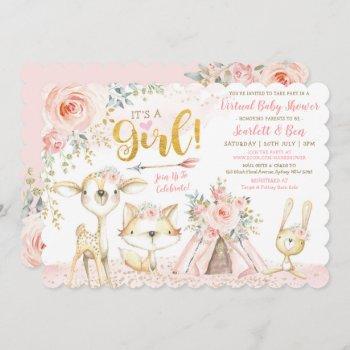 Blush Boho Floral Woodland Virtual Baby Shower Invitation