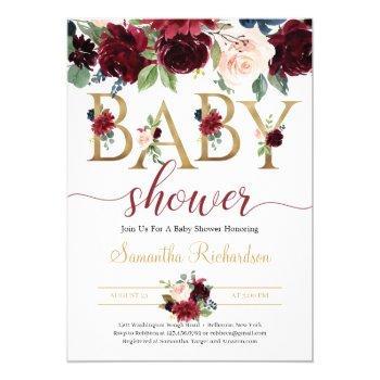 Blush Burgundy And Navy Floral Boho Baby Shower Invitation