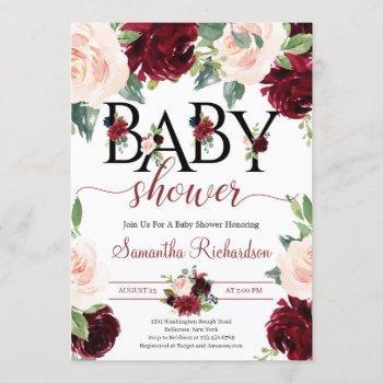 Blush Burgundy And Pink Floral Boho Baby Shower Invitation