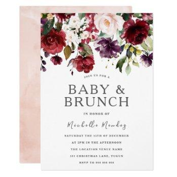 Blush Burgundy Watercolor Baby Shower & Brunch Invitation