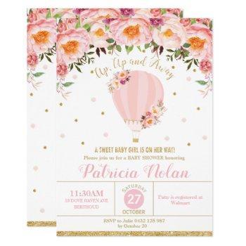 Blush Floral Hot Air Balloon Baby Shower Baby Girl Invitation