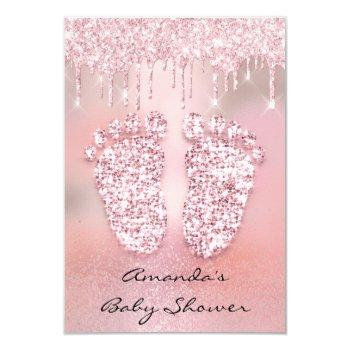 Blush Glitter Drips Rose Gold  Baby Shower Feet Invitation