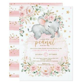 Blush Gold Elephant Floral Moon Stars Baby Shower Invitation