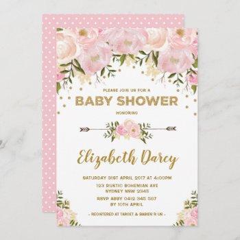 Blush Gold Floral Baby Shower Cottage Chic