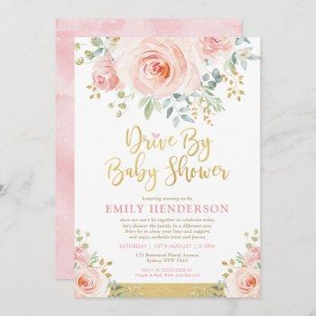 Blush Gold Floral Drive By Baby Shower Quarantine Invitation