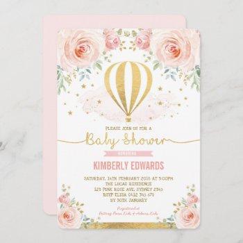 Blush Gold Floral Hot Air Balloon Girl Baby Shower