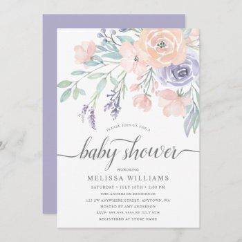 Blush Lavender Watercolor Floral Girl Baby Shower Invitation