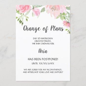 Blush Peony Change Of Plans Shower Announcement