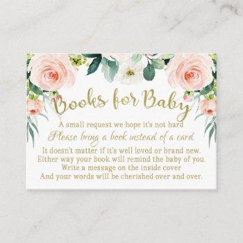 Blush Pink And Gold Books For Baby Insert Card