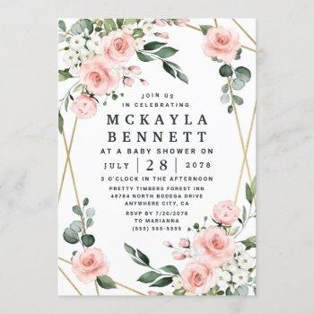 Blush Pink And Gold Floral Greenery Baby Shower Invitation