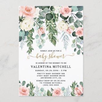 Blush Pink Floral Garden Watercolor Baby Shower Invitation