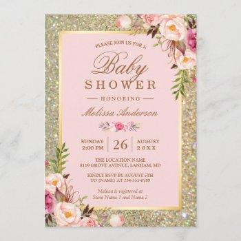 Blush Pink Floral Gold Sparkles Baby Shower Invitation