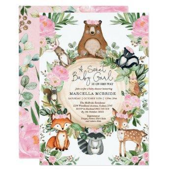 Blush Pink Floral Woodland Forest Girl Baby Shower Invitation
