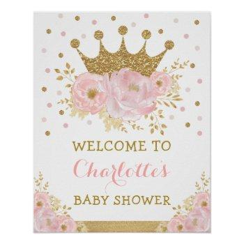 Blush Pink Gold Crown Princess Royal Baby Welcome Poster