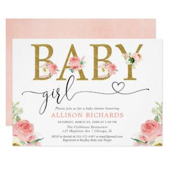 Blush Pink Gold Glitter Floral Girl Baby Shower Invitation