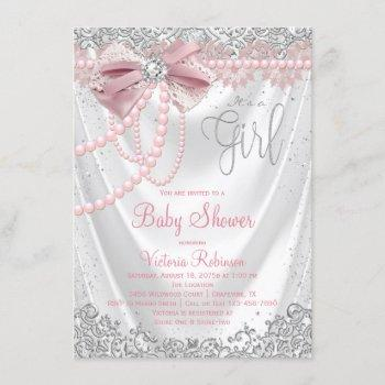 Blush Pink Gray Diamond Pearl Girly Baby Shower Invitation