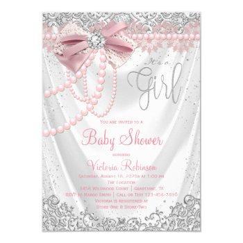 Blush Pink Gray Diamond Pearl Girly Baby Shower Invitation